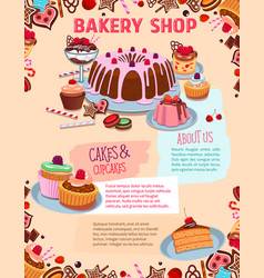 Poster for bakery shop cakes and desserts vector
