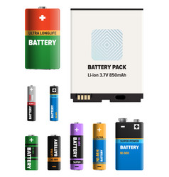 powerful batteries different shapes collection vector image