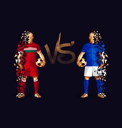 Red and dark blue soccer players holding vintage vector