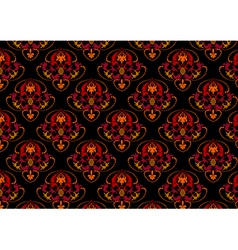 Red and orange ornament on seamless black backgrou vector image