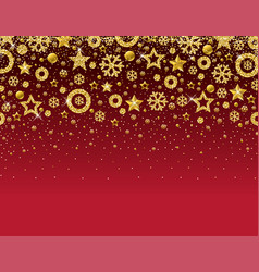 red christmas card with frame of golden vector image