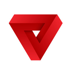 Red penrose triangle geometric 3d object optical vector