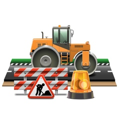 Road Construction with Road Roller vector