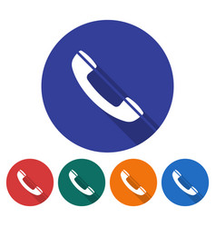 round icon of handset flat style with long shadow vector image