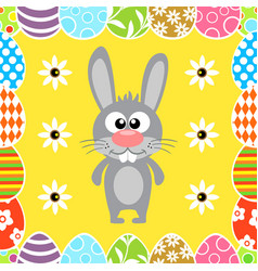 Seamless easter background with funny rabbit vector