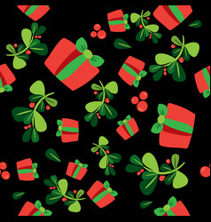 seamless winter pattern with a red gift boxes and vector image