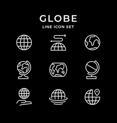 set line icons globe vector image