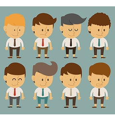 Set of businessman characters poses office worker vector image
