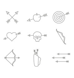 set of monochrome icons with archery vector image