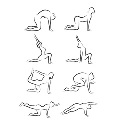 Set of sketches of silhouettes of yoga asanas The vector