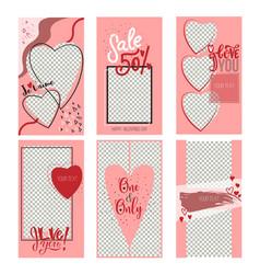 Set of valentine s day instagram sale stories vector