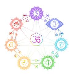 seven chakra symbols vector image