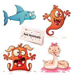 shark monster snake -set animals vector image
