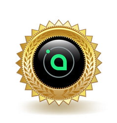 Siacoin cryptocurrency coin gold badge vector