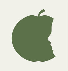 Silhouettes of apple and head vector