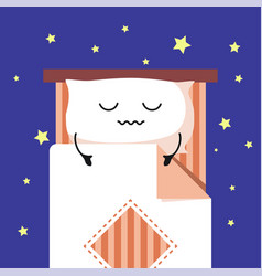 Smiling cute cartoon sleeping pillow on stripped vector