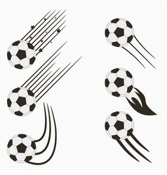 soccer or football balls set with motion trails vector image