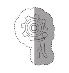 Sticker silhouette pictogram man holding a pinion vector