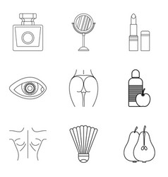 strong body icons set outline style vector image