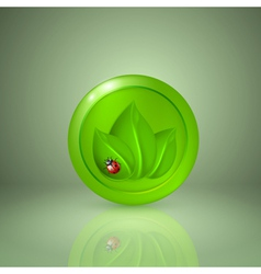 Three green leaves with ladybird vector