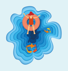 Tropical vacation sea kid character on water vector