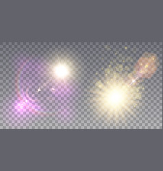 Two bright suns with lens flare vector