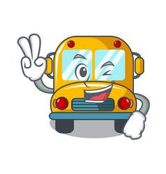 two finger school bus character cartoon vector image