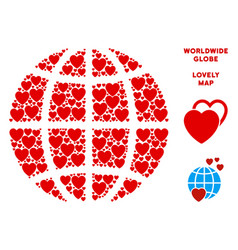 Valentine planet globe composition of vector