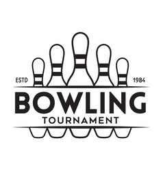 vintage monochrome style bowling logo icon vector image