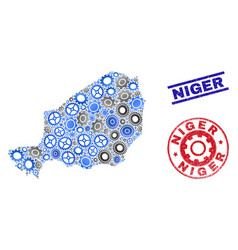 wheel mosaic niger map and grunge stamps vector image