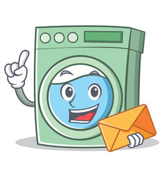 With envelope washing machine character cartoon vector