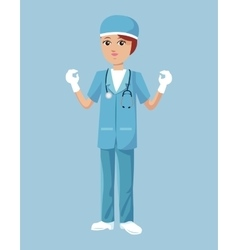 Woman surgeon uniform hat stethoscope latex gloves vector