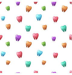 color cartoon tooth seamless pattern vector image