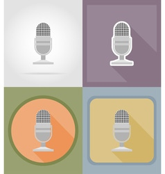 music items and equipment flat icons 03 vector image
