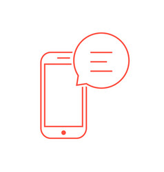 Red thin line smart phone like messaging vector