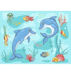 Two dolphins in the sea vector image vector image