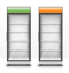 Two empty vertical refrigerators with transparent vector
