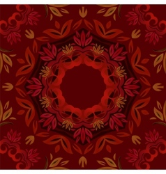 Abstract dark red floral background with round vector image vector image
