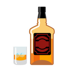 bottle and glass of whiskey and ice flacon scotch vector image