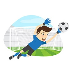 Funny soccer football player goalkeeper wearing vector image