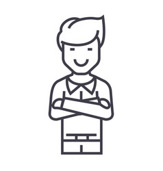 man with crossed arms line icon sig vector image