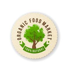organic food market paper label vector image vector image
