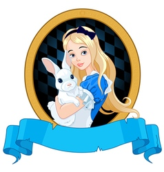 Alice with White Rabbit vector image vector image