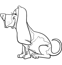 basset hound dog cartoon for coloring vector image vector image