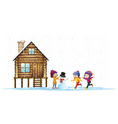 Children playing in snow by the hut vector