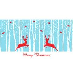 Christmas deers in birch tree forest vector image