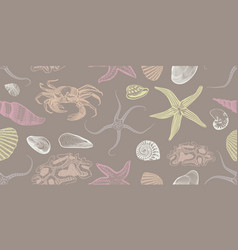 colorful sketch underwater seamless pattern vector image