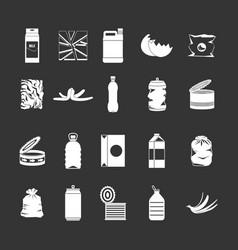 garbage icon set grey vector image