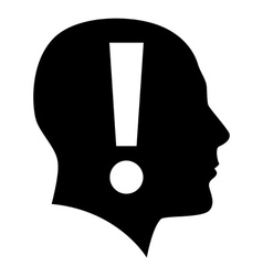 Human face with exclamation mark vector image