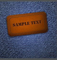 jeans background with leather label vector image